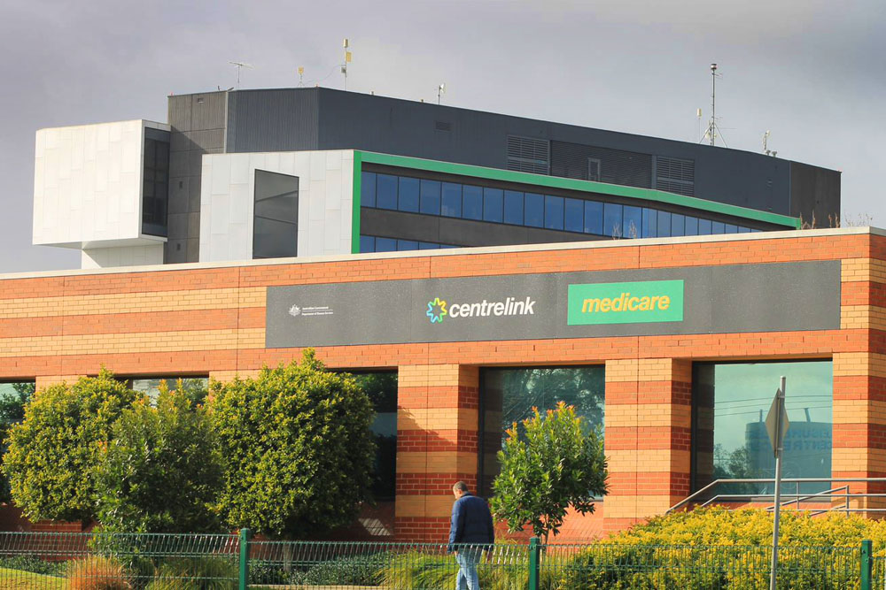 The facade of a Centrelink and medicare building