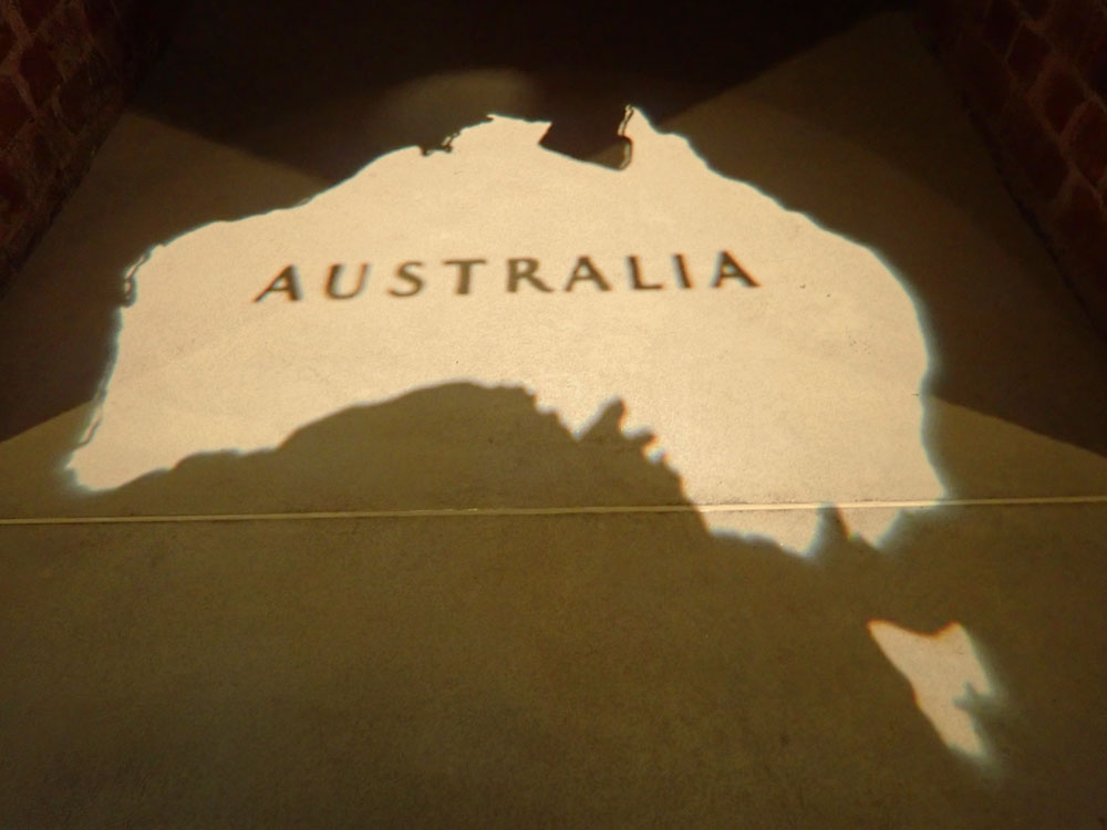 "The outline of Australia with the word 'Australia"" emblazoned across it."