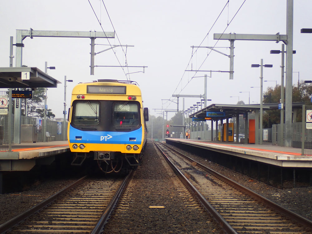 Melbourne Metro train pulling into a station