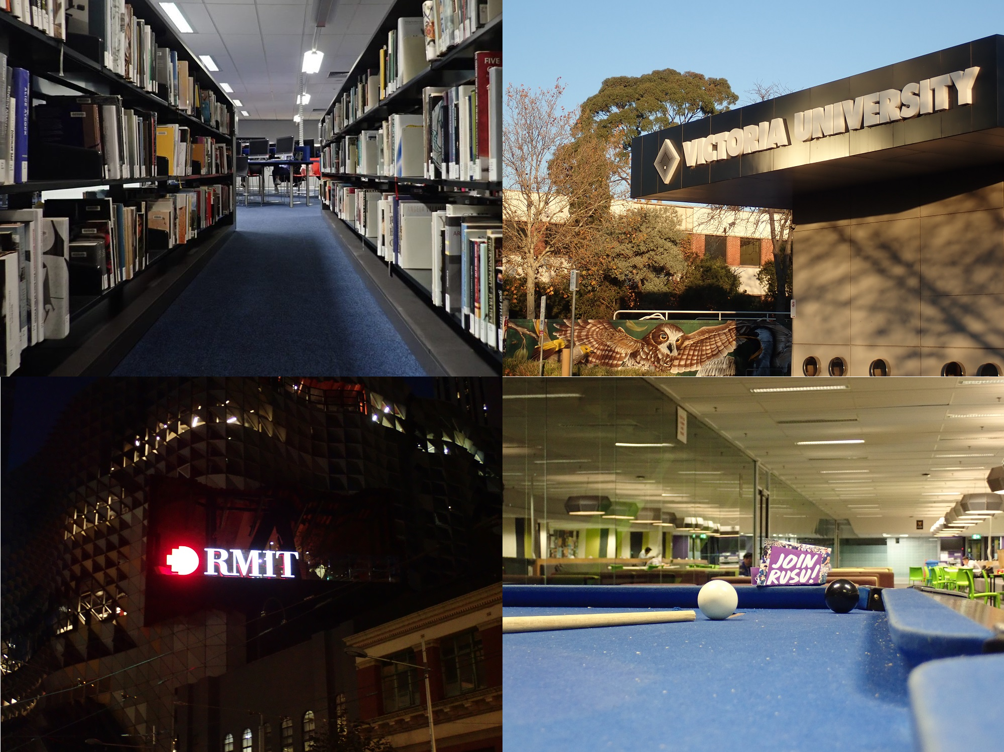 Collage image of a library, Victoria Uni, RMIT uni & a pool table